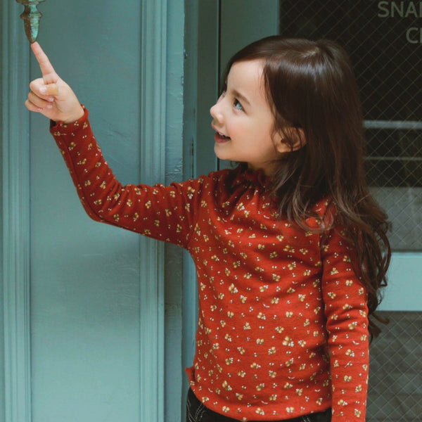 Pury Floral Top for little girls in burgundy