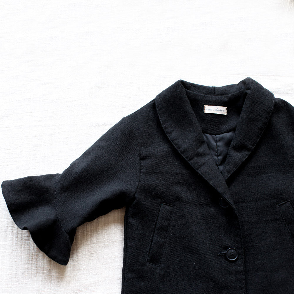 Chelsea Cotton Jacket for little girls, fall jacket in black