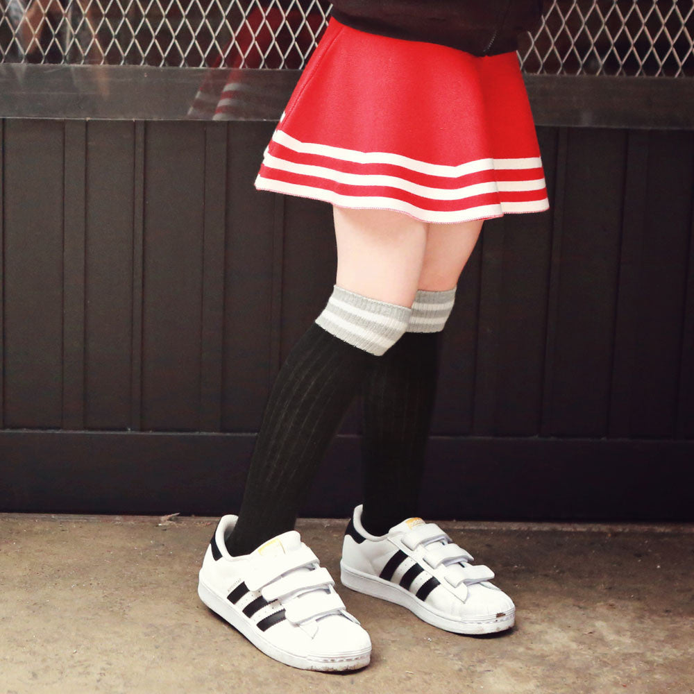 Torrance Knee-High Socks, fall socks for little girls in white