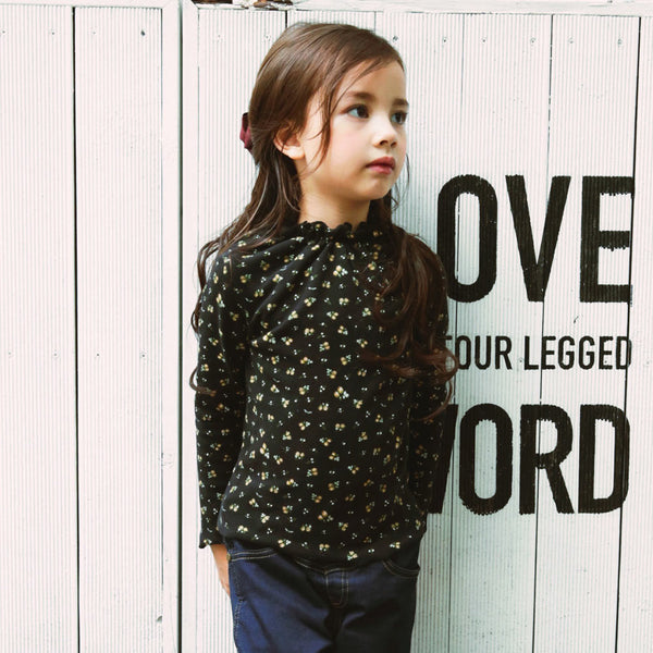 Pury Floral Top for little girls in black