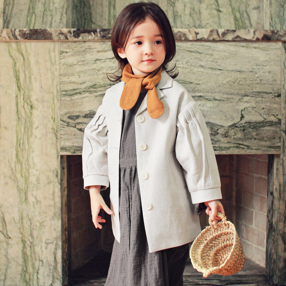 Abby Short Trench Coat for little girls, fall trench coat in light grey