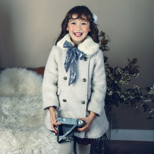 Lily Wool Boucle Coat, little girl long sleeve coat