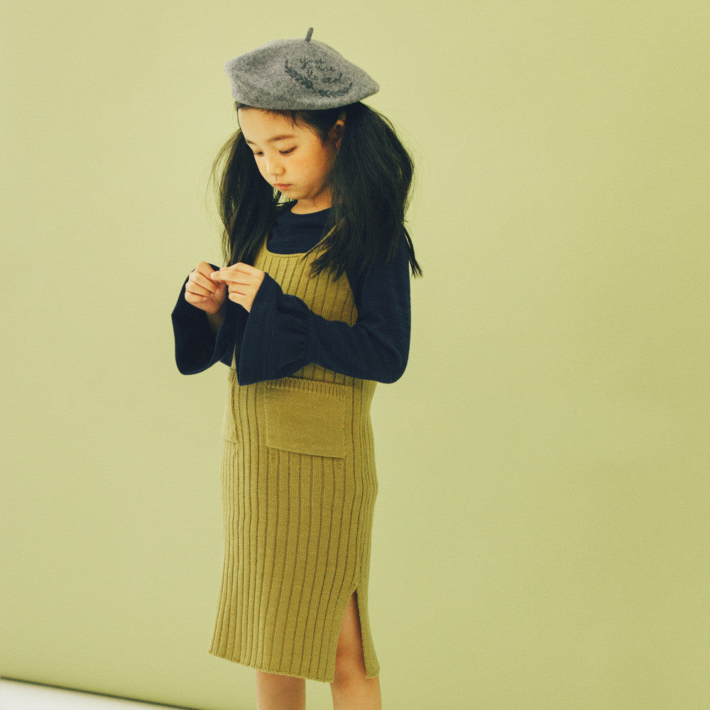 Charlie Sleeveless Knitted Dress, girl sleeveless dress in olive