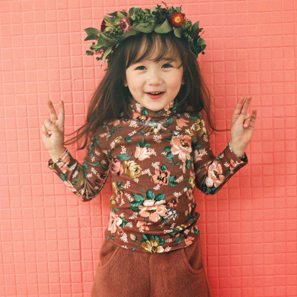 Faye Floral Top with turtleneck for little girls