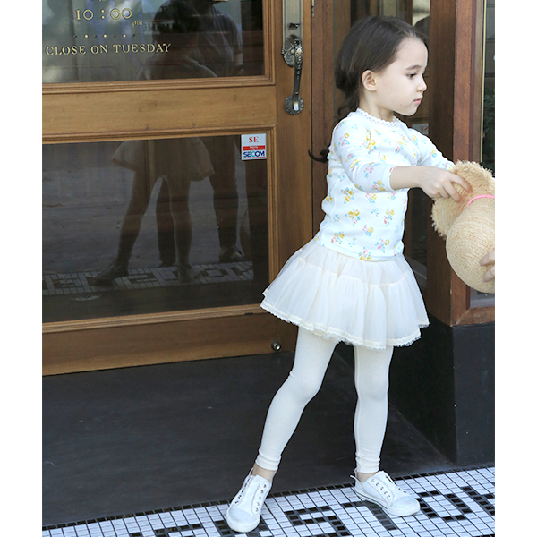 Selena Skirted Leggings, little girls skirt leggings in cream