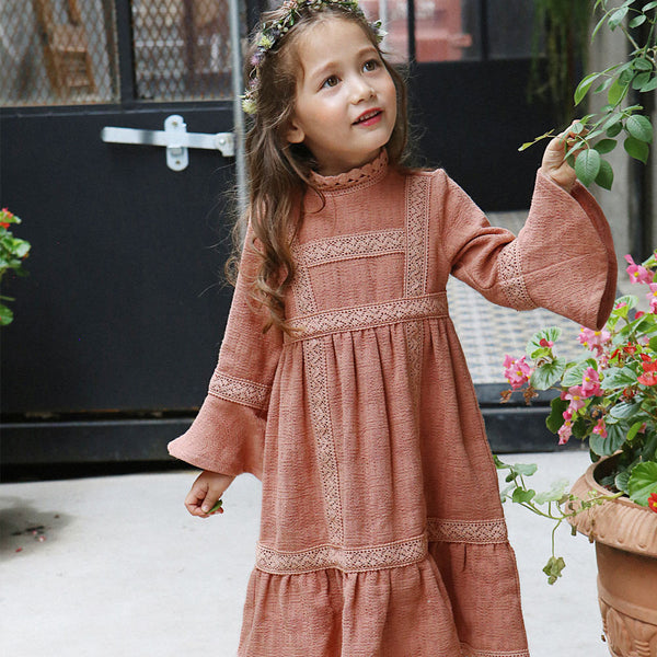 Shirley Crochet Dress in coral, girl long sleeve dress