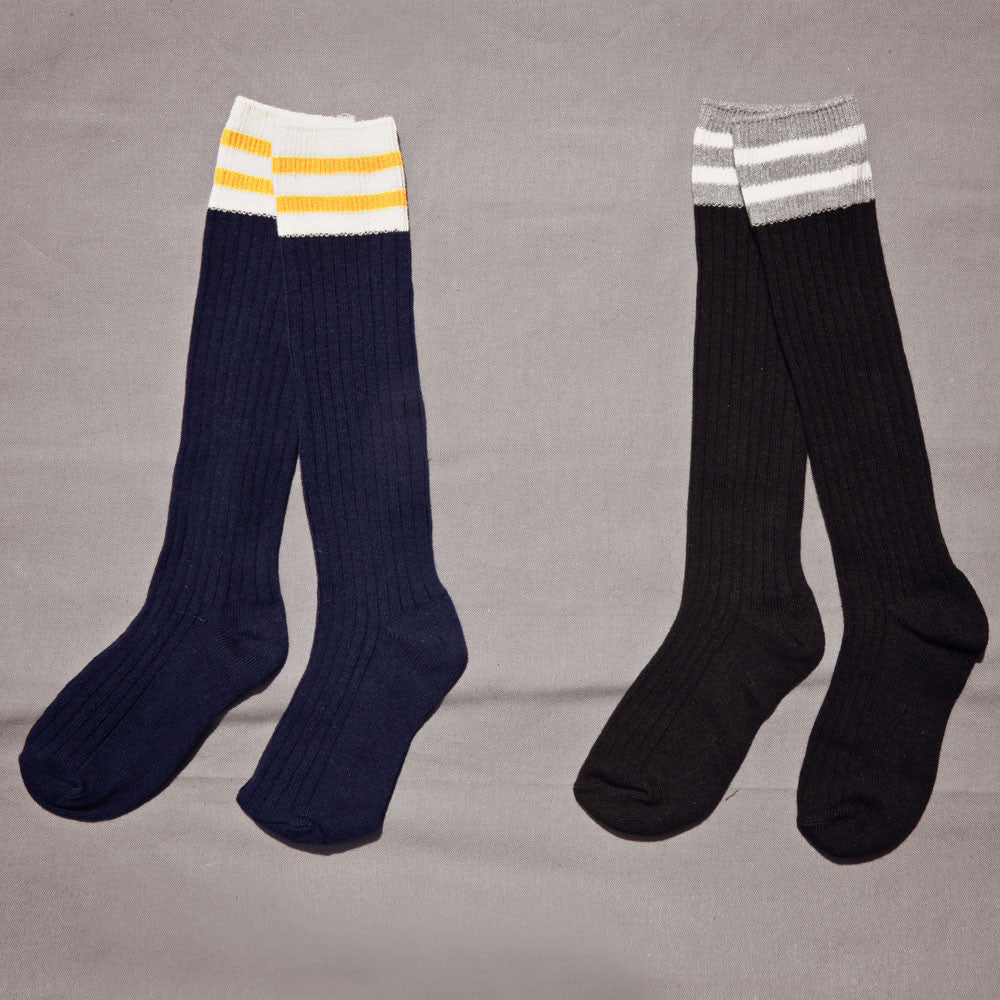 Torrance Knee-High Socks, fall socks for little girls in yellow and white