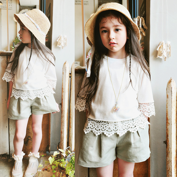 Delora Belted Shorts [CREAM / 4-5 YRS, 6-7 YRS]