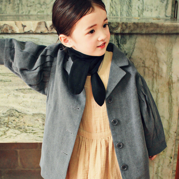 Abby Short Trench Coat for little girls, fall trench coat in charcoal