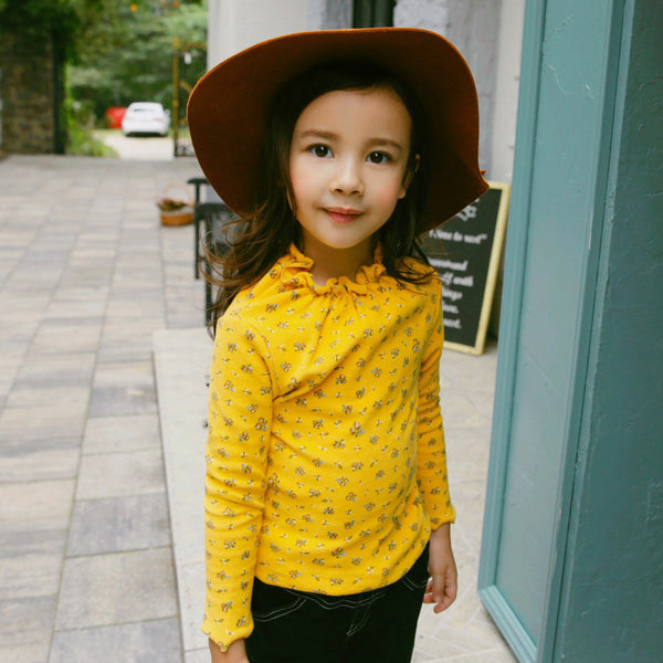 Pury Floral Top for little girls in mustard