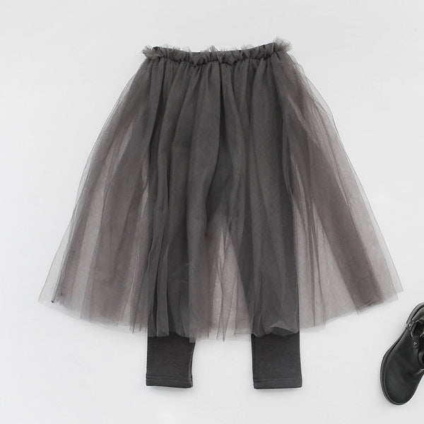 Ciara Tulle Skirted Leggings, little girls bottom in grey