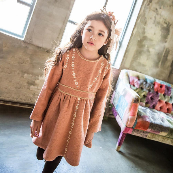Sharon Embroidery Dress with long sleeves