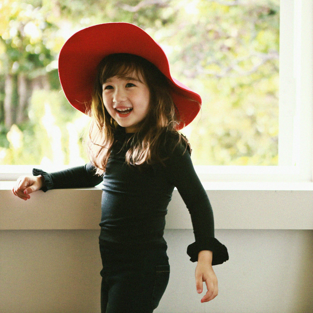 Francis Pleat Top, little girls long sleeve top in black