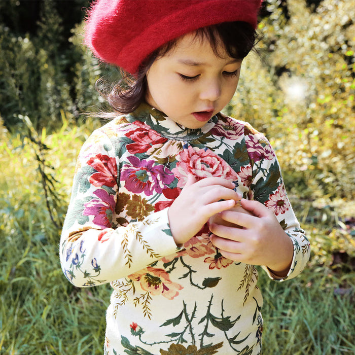 Semy Floral Turtleneck Top for little girls in cream