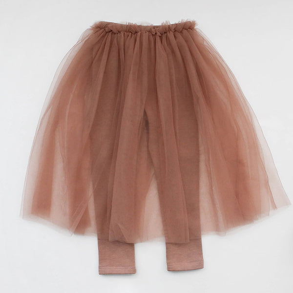 Ciara Tulle Skirted Leggings, little girls bottom in peach