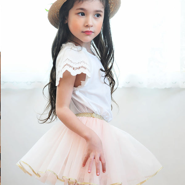 Alyssa Top, little girls short sleeve top in white