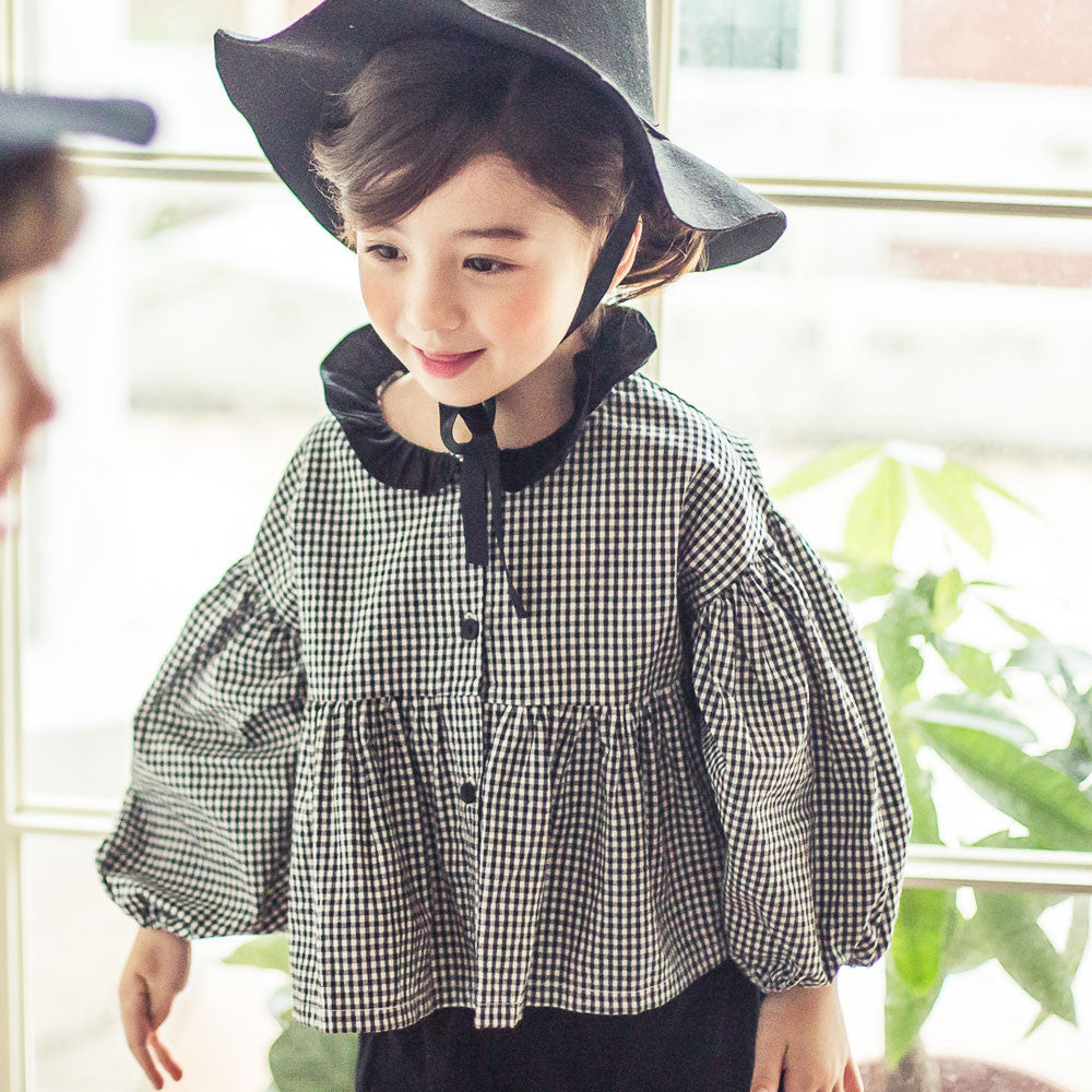 Fairy Plaid blouse for little girls in black
