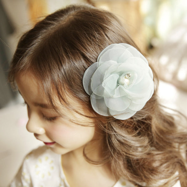 Calla Rose Hair Clip, little girls mesh flower hair clip