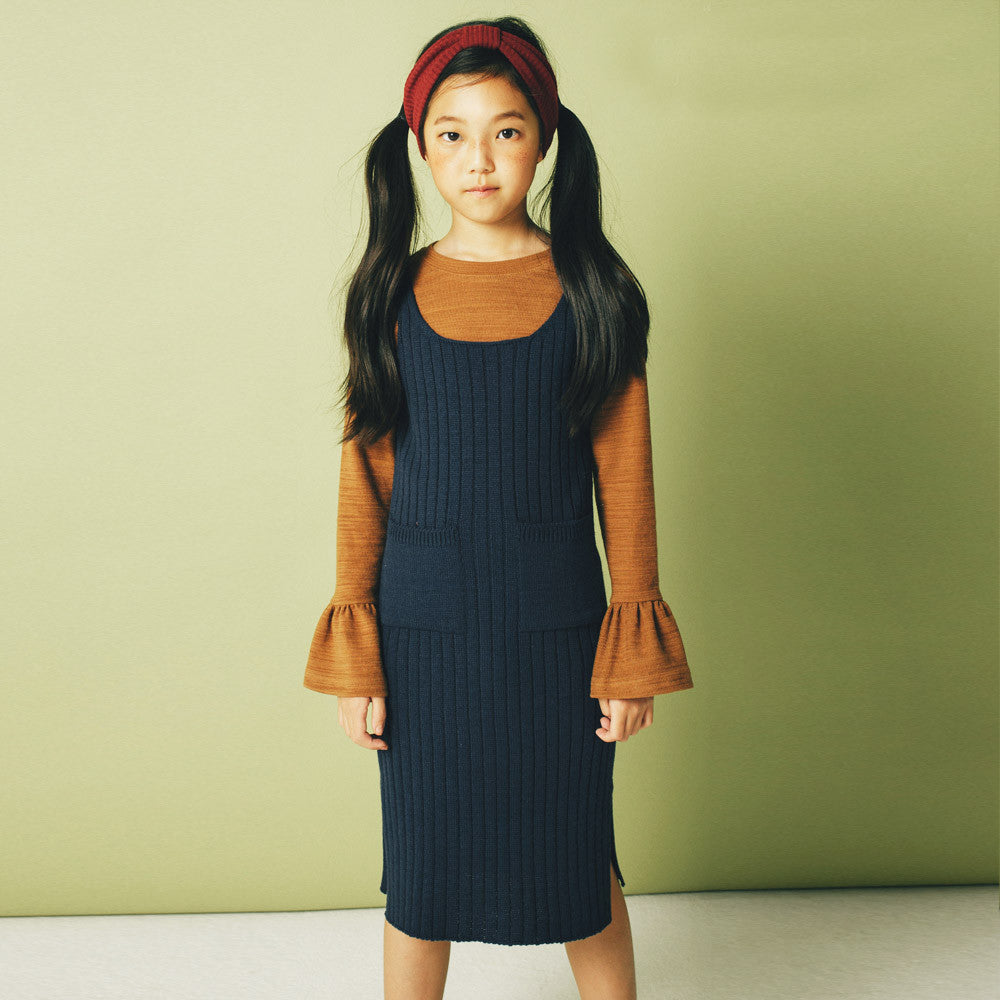 Charlie Sleeveless Knitted Dress, girl sleeveless dress in navy