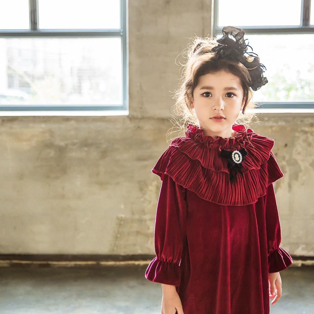 Mira Velvet Dress for little girls in wine