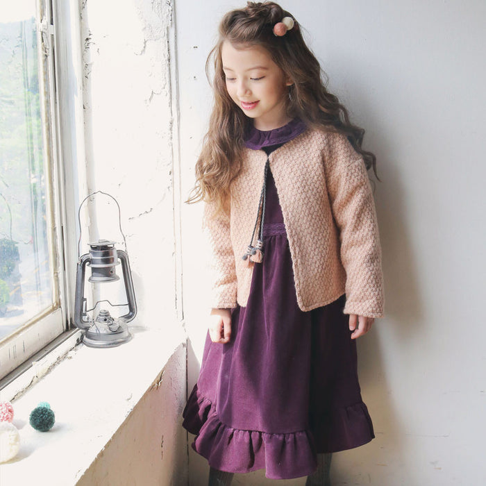 Tully Tassel Knit Cardigan with tassels and fleece lining for little girls