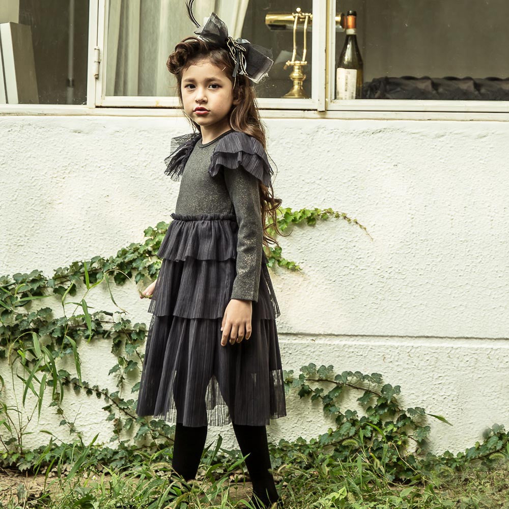 Diana Pleats Dress with a ruffle skirt for little girls