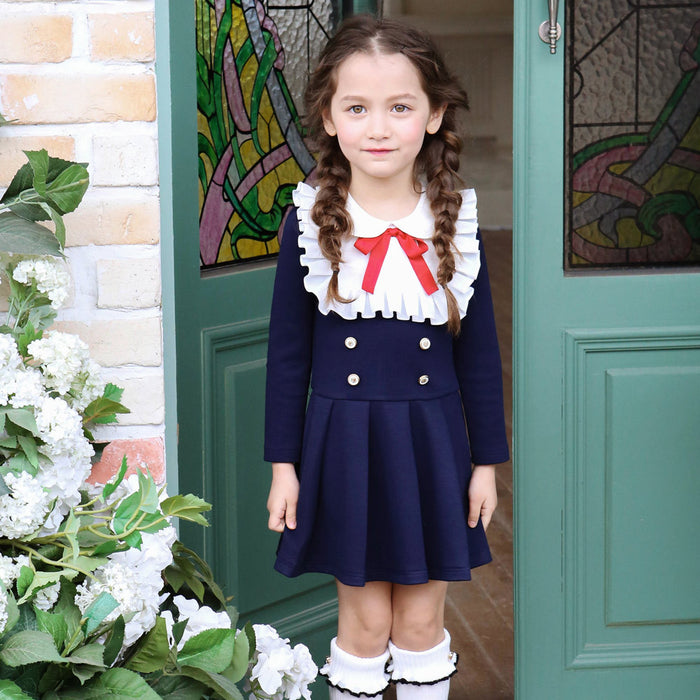 Addison Ribbon Dress, little girls preppy dress in navy