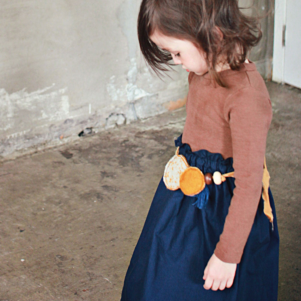 Theo Felt Necklace, little girls necklace in mustard