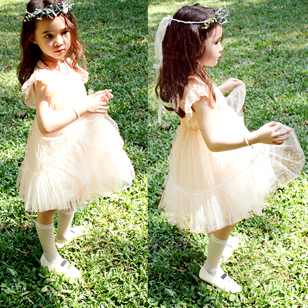 Charlotte Royal Dress, little girls tulle dress in Peach Beige