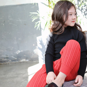 Madeleine Ruffle Top, little girls half turtleneck top in black