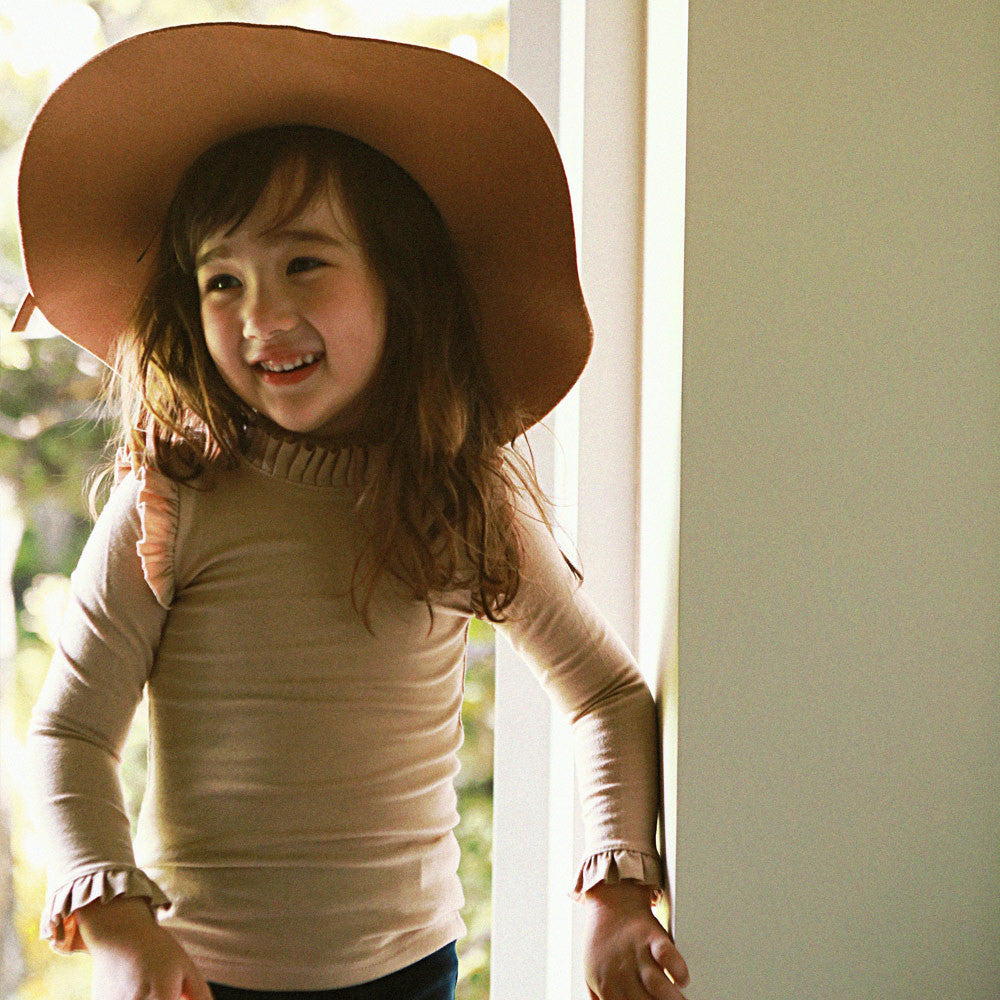 Francis Pleat Top, little girls long sleeve top in beige