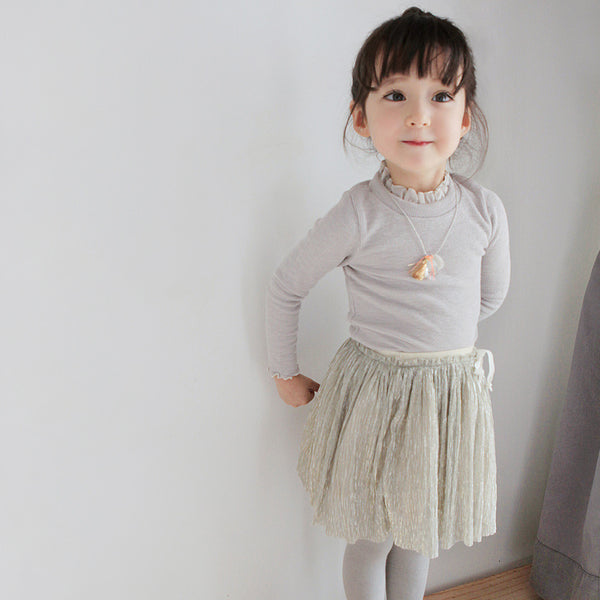 Fern Pleated Skirt, little girls pleated skirt in silver beige