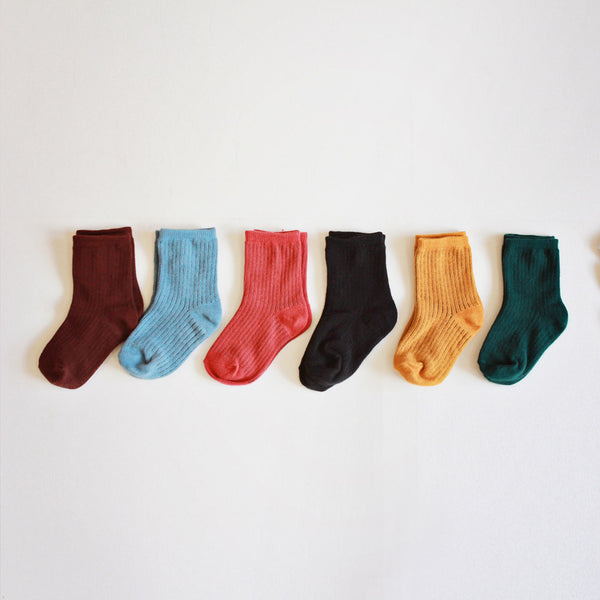 Ivy 6-Pack Daily Socks for kids, fall color ankle socks