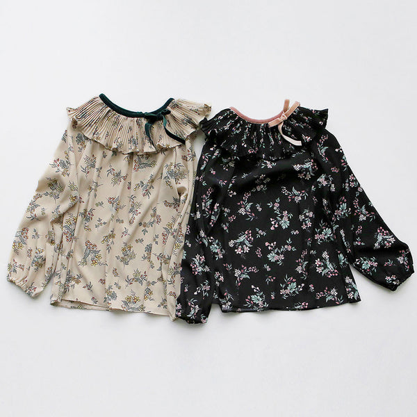 Roselyn Floral blouse for little girls in beige and black