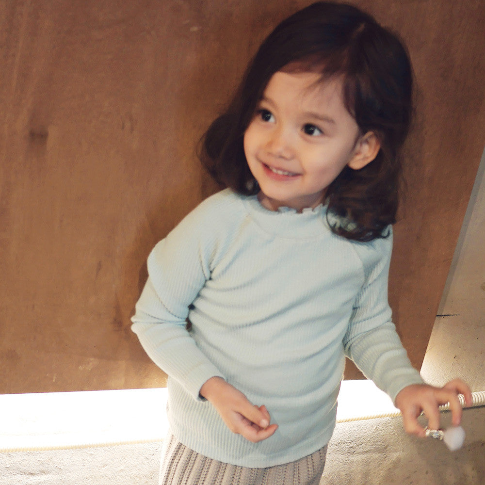 Madeleine Ruffle Top, little girls half turtleneck top in light blue