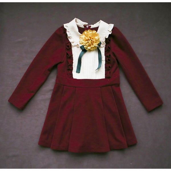 Little girl's Hazel Flare Dress in wine with ruffle details