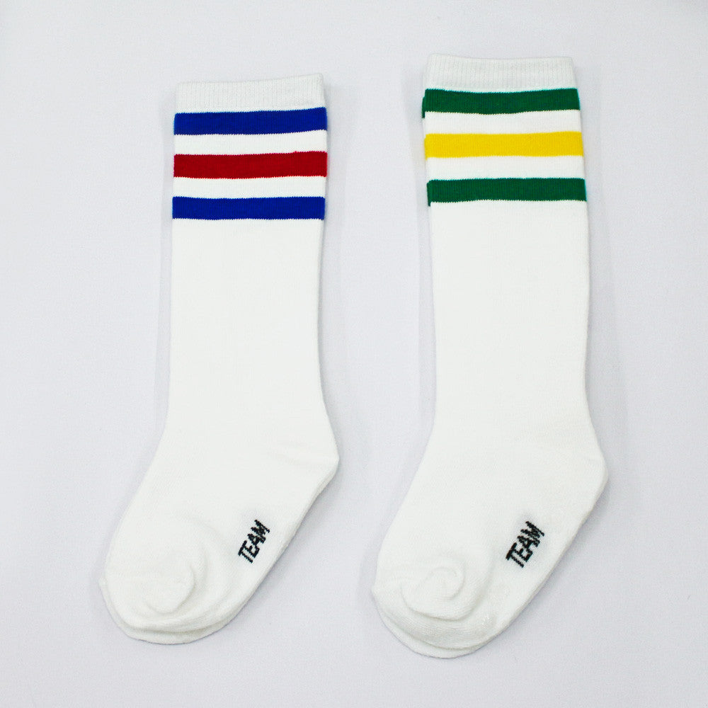 Hello Stripe Knee Socks for little girls in blue and green