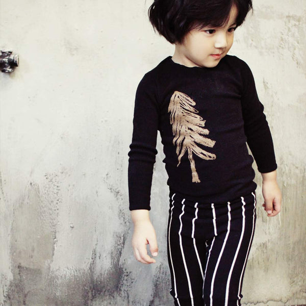 Pine Loungewear Set with stripe pants for boys and girls