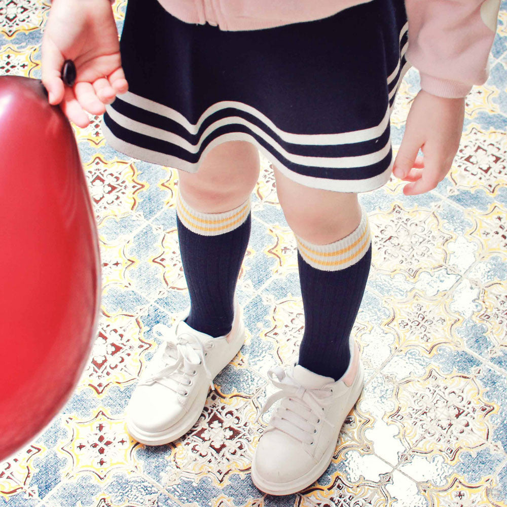 Torrance Knee-High Socks, fall socks for little girls in yellow