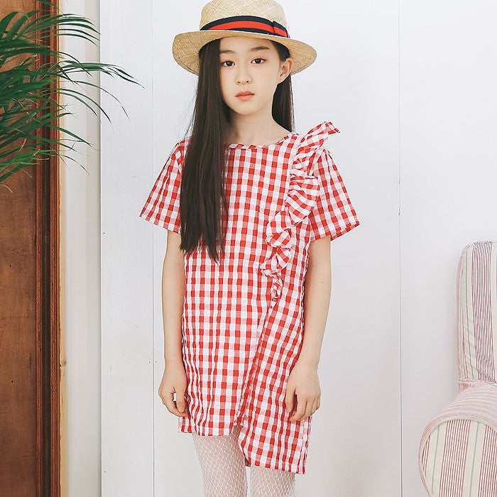 [BERRY BERRY] Lou Check Dress - RED
