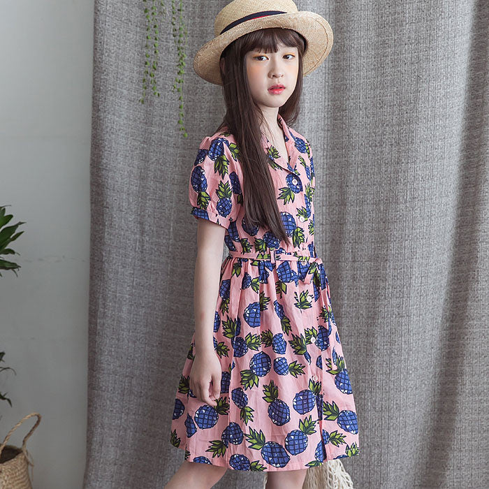 [BERRY BERRY] Carey Pineapple Dress - PINK
