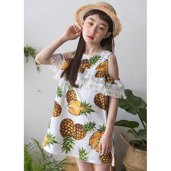 [BERRY BERRY] Quincy Pineapple Dress - WHITE