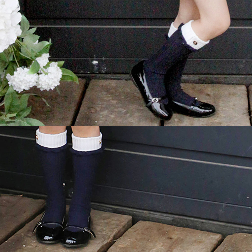 August Knee-High Socks, little girls preppy socks in navy