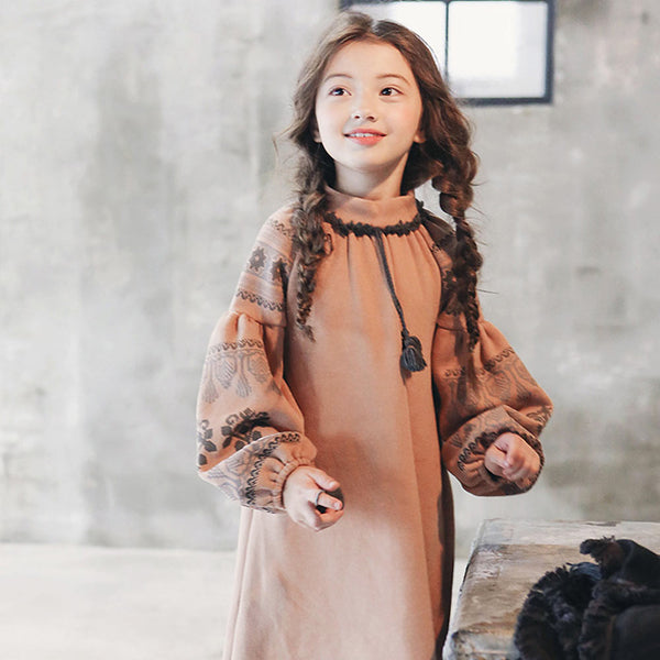Matilda Ethnic Dress, little girls long sleeve dress in peach