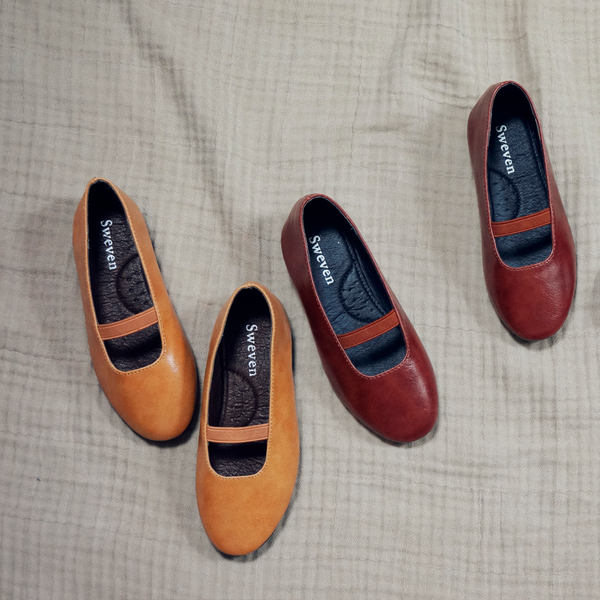 Girl's classic flats for fall, Betty Flats in mustard, blue, wine color