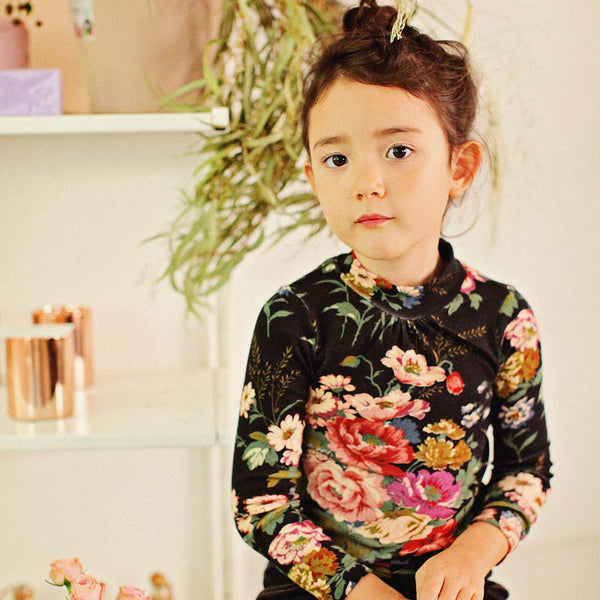 Semy Floral Turtleneck Top for little girls in black