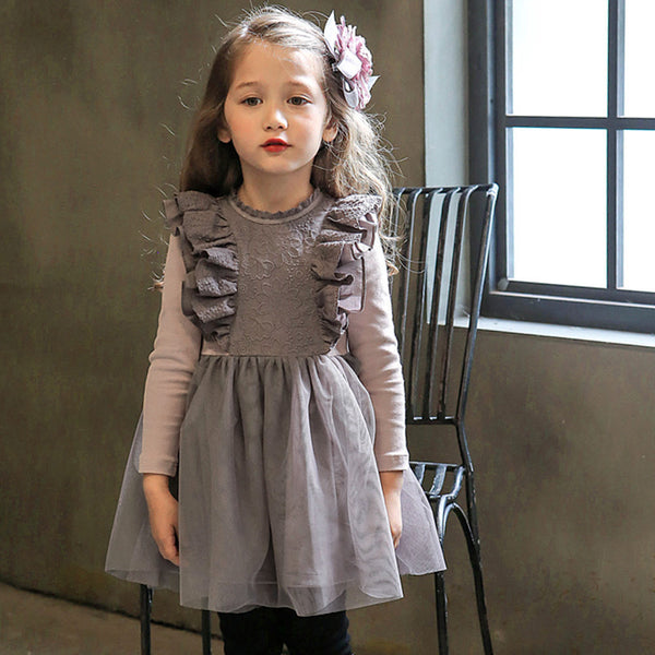 Phyllis Ruffle Dress with fleece lining for little girls