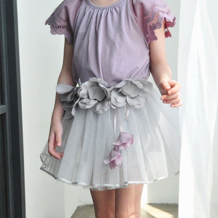 Julia Tulle Skirt, little girls mini tulle skirt in grey