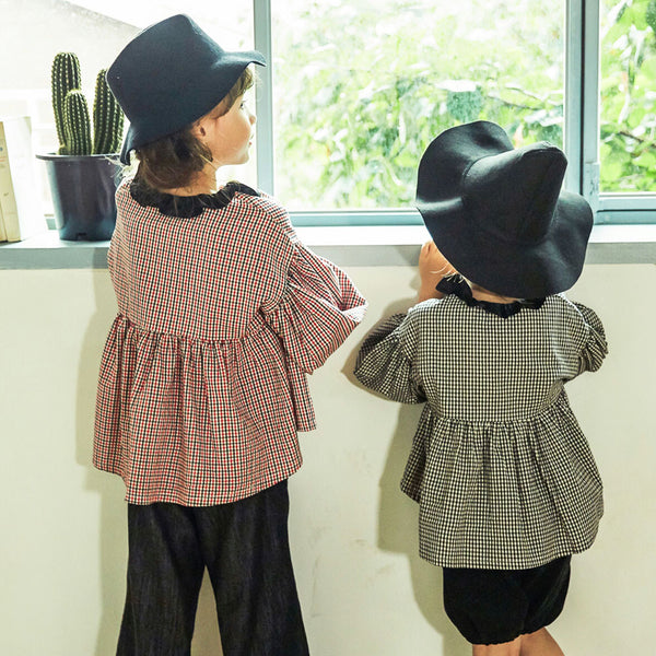Fairy Plaid blouse for little girls in red and black