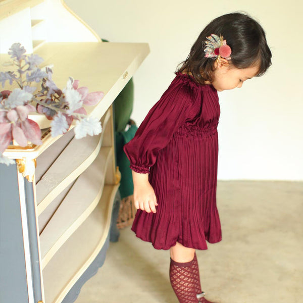 Natasha Pleated Dress in Wine, girl long sleeve dress